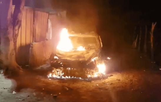 Viatura da Guarda Municipal de Amélia Rodrigues é incendiada após confusão em Cavalgada