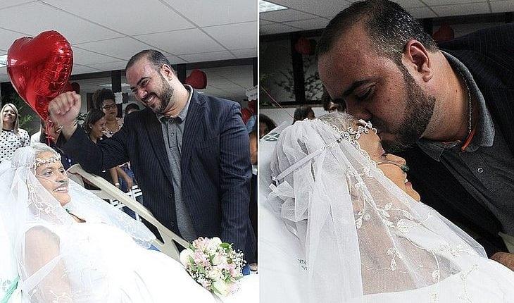 Paciente troca alianças em hospital: 'Casamento deixou ela mais forte', diz marido