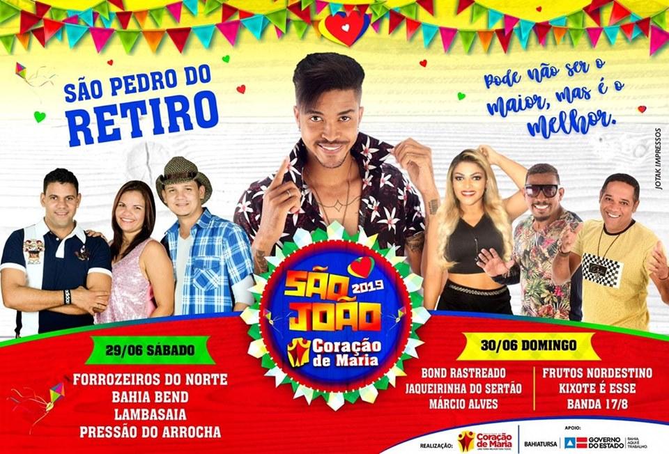 Coração de Maria : Festa de São Pedro do Retiro contará com show da Banda Lambasaia