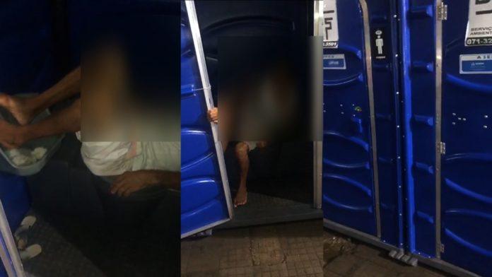 Cachaça derrubadeira! Bêbado dorme em banheiro químico e é comediado no carnaval