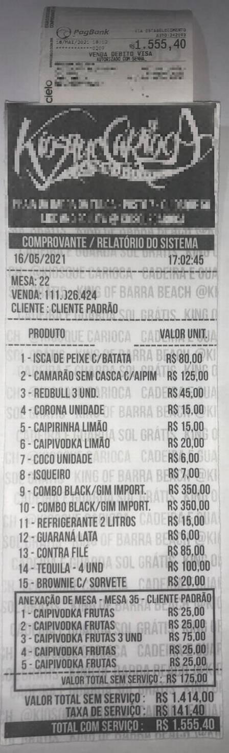 ANTES DE MORRER: Mc Kevin, modelo e amigos consumiram mais de R$ 1.500 em quiosque