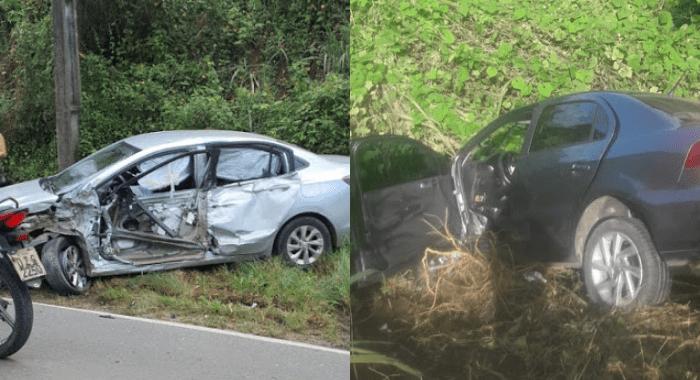 GRAVE ACIDENTE: Seis pessoas ficam feridas após batida entre dois veículos de passeio e carro-forte